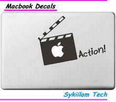 Película de acción de la personalidad Decal para Macbook de la piel Pro 13 15 17 Retina aire 11 12 13 for Apple Logo Laptop vinilo texto etiqueta marca