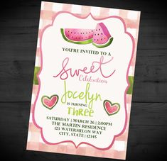 Watermelon Sweet Celebration Invitation - Summer Picnic Birthday Party Invite - BBQ - Printable or Printed - SHIPPING INCLUDED - 4x6