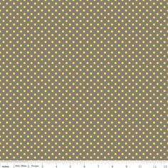 Grey and Yellow Polka Dot Fabric, Seaside by October Afternoon for Riley Blake, Dot Print in Grey, 1 Yard. $8.35, via Etsy.
