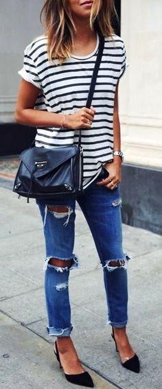 9a9271cf6351  summer  outfits   striped t shirt + ripped denim Jeans Kombinieren,  Damenmode,