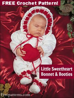 Little Sweetheart Bonnet & Booties Crochet Pattern -- Download this free crochet baby outfit pattern from FreePatterns.com.