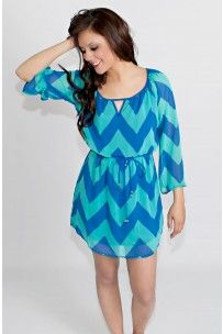 Around the Carousel Chevron Dress In Blue