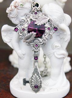 Steampunk - Vintage steampunk swarovski purple key necklace by DreamCloudJewelry
