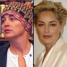 Celebrity with no makeup: Sharon Stone without makeup and with
