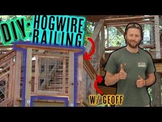 Deck Railing With Hogwire Panels: Want to add a bit of flair to your deck/patio? Learn how to make these hog wire panels for your next railing. Nelson Treehouse & Supply has used these railings on treehouses across America. Now we want to teach you how! Wire Deck Railing, Hog Wire Fence, Deck Railing Design, Pallet Fence, Diy Fence, Fence Landscaping, Backyard Fences, Fence Design, Deck Patio