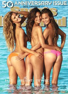 Beach Bums from Chrissy Teigen's Sexiest Pics  The sexy stunner poses for the cover of the Sports Illustrated swimsuit issue with model pals Lily Aldridge and Nina Agdal.
