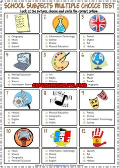 School Subjects ESL Printable Multiple Choice Test For Kids - Education interests Teach English To Kids, English Worksheets For Kids, Kids English, English Activities, Teaching Activities, English Lessons, Learn English, French Worksheets, Teacher Worksheets