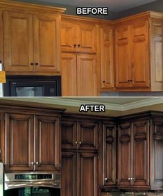 Update perfectly functional but too traditional cabinets with a darker glaze faux finish. Way cheaper than refacing or replacing! I love the final result