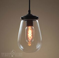 2014 Hot sales Clear glass pendant light chandelier Edison bulbs kitchen lighting hand blown color glass lights on Etsy, $66.60