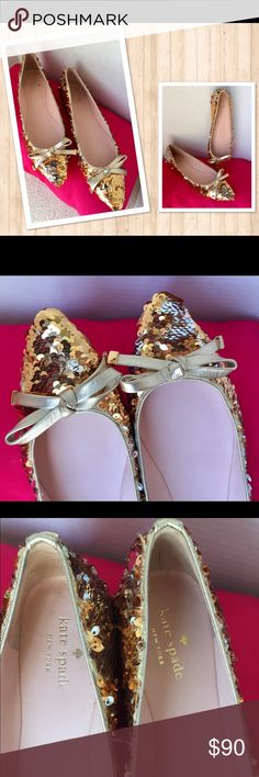 Kate Spade ♠️Gold/Silver Sequin Flats Size 8.5 ❤️ Beautiful Kate Spade ♠️ Sequin flats size 8.5. Preowned. No box.  Flats are in Great condition the only ugly part is outsoles are dirty   Otherwise like new.  Retail price $198.00   You love these shoes but the price not so much? Please feel free to make me an offer! ❤️ kate spade Shoes Flats & Loafers