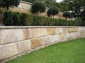 Capstone top on sandstone block Concrete Retaining Walls, Landscaping Retaining Walls, Outdoor Landscaping, Front Yard Landscaping, Landscaping Ideas, Landscape Edging, Garden Edging, House Landscape, Landscape Architecture