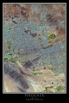This beautiful LANDSAT 8 image from April of 2015 depicts the Greater Phoenix Metropolitan Area including the suburbs of Glendale, Mesa, Scottsdale, Peoria and Chandler. The scene covers the region fr
