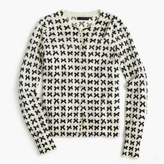 J.Crew Gift Guide: women's lightweight Jackie cardigan sweater in bow print.