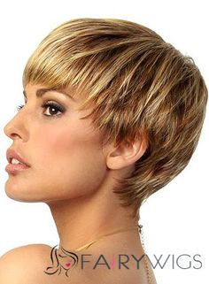 Natural Short Straight Blonde 8 Inch Human Hair Wigs