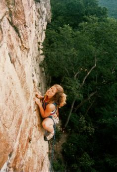 Staring down the crux, Lynn Hill digs into two crimps on Graveyard Shift (5.10d), at the Gunks. The route was first climbed in 1978 by Russ Raffa and Rich Ross. From the Rock and Snow BLOG