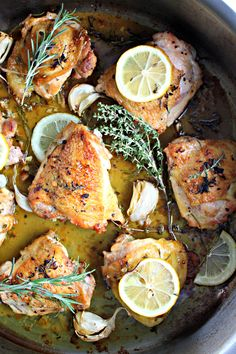 Rustic Style Lemon Chicken with Fresh Rosemary and Thyme. Whole Food Recipes, Cooking Recipes, Healthy Recipes, Lemon Herb Chicken, Longest Recipe, Food Concept, Specialty Foods, Yummy Food, Fun Food