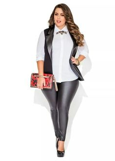 Play With Pleather - Ashley Stewart Curvy Girl Fashion, Diva Fashion, Plus Size Fashion, Fashion Ideas, Curvy Outfits, Plus Size Outfits, Leather Leggings Outfit, Full Figure Fashion, Special Occasion Outfits
