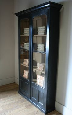 Black Cabinet - idea for refinishing glass-front bookcase