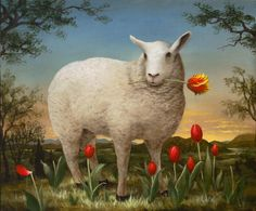"""♞ Artful Animals ♞ bird, dog, cat, fish, bunny and animal paintings - """"The Epicure"""" by Kevin Sloan"""