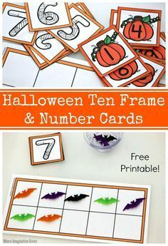 Halloween Ten Frame & Number Cards! A free printable to help preschoolers with counting and number sense! Fun hands-on learning activity!