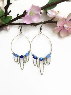 Bronze Hoop Earrings with Blue Czech Glass Chandelier Hoop Earrings Beaded Antique Bronze Earrings Bronze Chain Dangle Earrings (E165) by JulemiJewelry on Etsy
