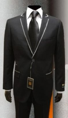 #Mens #Gianni #Uomo with #silver framed lapel #black #tuxedo.Only $199