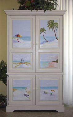 TV Armoire in Beach Condo in FL. Each panel has hand painted beach scene by Jeanine, Atlanta, GA.
