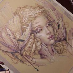 Fantasy art #drawing #sketch colored pencils,  Jennifer Healy Art