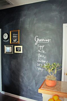 Burlap & Lace - hallway painted with chalkboard paint (maybe for hallway outside bathroom?)