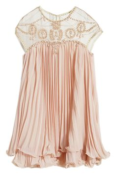 a4ce5ea1ab81 Beads Embellished Pleated Layered Apricot Dolly Dress. Pink Chiffon ...