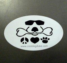 Cool Dog Duke Peace Love Dog Labrador Retriever Oval Bumper Sticker