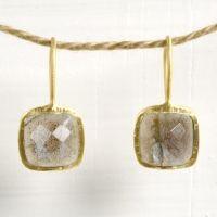 Tiny Square Laradorite Earrings