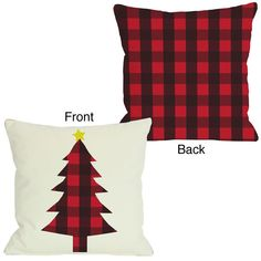 One Bella Casa Plaid Christmas Tree Reversible Pillow Christmas Store, Plaid Christmas, Christmas Deco, Rustic Christmas, Christmas Projects, Christmas Fabric Crafts, Sewing Pillows, Diy Pillows, Decorative Pillows