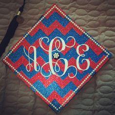 DIY College Graduation Cap with Monogram, Chevron, and Pearls!