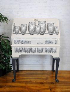 Upcycled Vintage Bureau Desk with Fornasetti 'Nottambule' Owl Decoupage Decoupage Furniture, Grey Furniture, Hand Painted Furniture, Recycled Furniture, Paint Furniture, Unique Furniture, Home Decor Furniture, Furniture Projects, Furniture Making