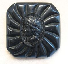 Large Black Cameo Button, Vintage Molded Plastic, Very Beautiful from nowandthen on Ruby Lane