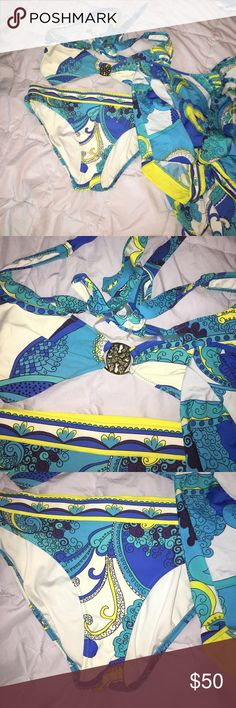 Trina Turk Bikini Set Adorable suit, comes with matching batwing arm style cover up! No wearing or flaws. Both size 10- yellow, teal and blue colored! Trina Turk Swim Bikinis