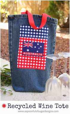 Recycled Denim Wine Tote {Australia Day Project}   A Spoonful of Sugar