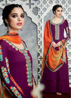 Cute Magenta and Orange Trendy Palazzo Salwar Suit