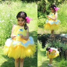 Lemon Yellow Fairy Tutu Dress - Girls Feather Dress, Halloween Costume, Baby Girl Fairy Princess Costume on Etsy, $95.00