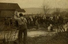 Submersion Baptism In A Pond, about 1900. Photographer & place unknown