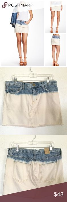 """Current/Elliott Mini Cut Off Denim Skirt Size 30/8.  Zip fly with button closure, 5 pocket construction.  Color is Sea Salt.  Bleached to frayed hem.  Measures about 17.5"""" across the waistband and 13.75"""" in length.  No trades. Current/Elliott Skirts Mini"""