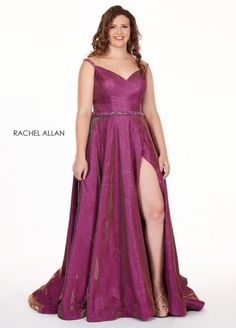 Style 6700 from Rachel Allan Curves is a sweetheart neck spaghetti strap glitter woven plus size prom dress with leg slit and embellished waistband.