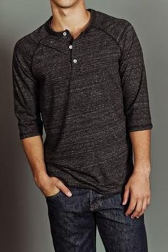 tri charcoal henley