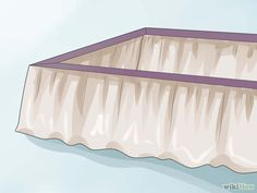 How to Make a Bed Skirt. A bed skirt, also called a dust ruffle, is a traditional bed dressing that covers the box spring and extends nearly to the floor. Bed skirts come in a variety of styles and can be bought or made. Bed Valance, No Sew Curtains, Ruffle Bed Skirts, Ruffle Bedding, How To Dress A Bed, How To Make Bed, King Size Bed Skirt, Bed Wrap, Diy Bett