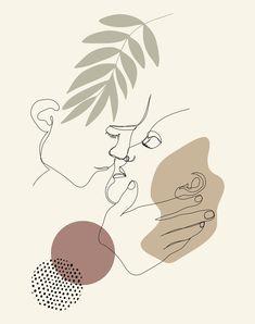 Kissing Couple Artwork, One Line Art, Continous Line
