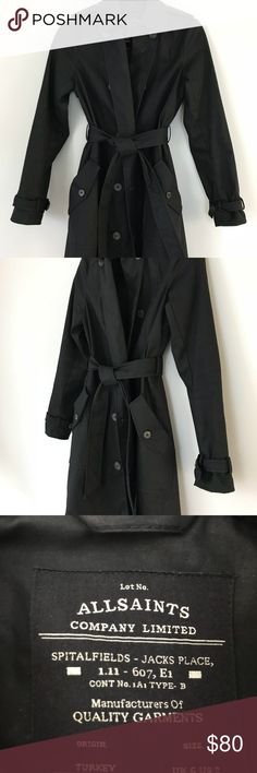 All Saints Black Italian Cloth Trench Coat Bought from All Saints for $450, this black trench coat in Size 2 is in excellent condition as it was only worn once. I'm usually a size 0 and can fit into it. It is constructed with Italian cloth fabric with a rich, durable feel to it that will make this jacket last a life time. It is very well sown and should be a timeless staple you can wear forever to dress up a going-out outfit, look professional for work, and or just brave the weather in…