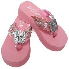 Cowgirl Bling Clothing Wholesale | HNS44 - WHOLESALE HIDENSOLE WESTERN RHINESTONE FLIP FLOPS