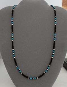 A well-made Native American made item as I take much pride in my work. Black Blue Turquoise Necklace. in Black, Blue Turquoise, Bone colors. Finished with silver Lobster clasp. Very durable and flexible. | eBay!