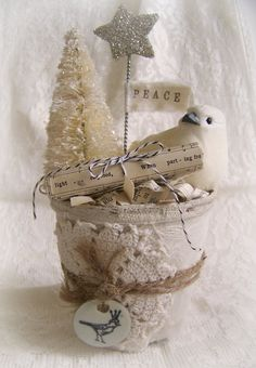 Handmade Winter White Christmas Decoration Vintage Christmas Decor Shabby White Peat Pot Vintage Christmas Bird, made by QueenBe